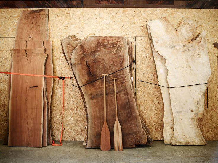 A stack of large slabs at the Offerman Woodshop (www.offermanwoodshop.com)