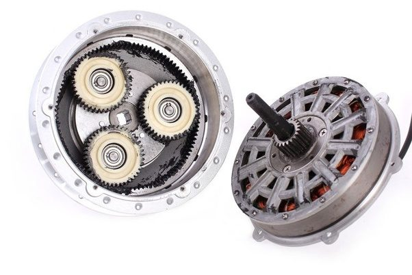 A planetary-geared bicycle hub motor (www.quora.com/Which-is-better-for-e-bike-a-BLDC-Outrunner-or-Hub-motor)