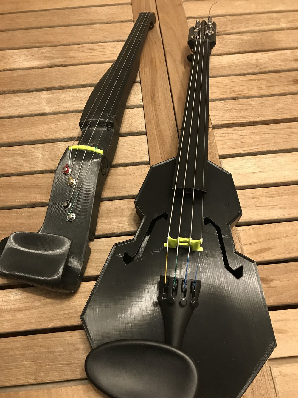 My silent F-F-Fiddle alongside its newest compadre — a lulzbot-colored Modular Fiddle. Both were designed by the brilliant Dave Perry.