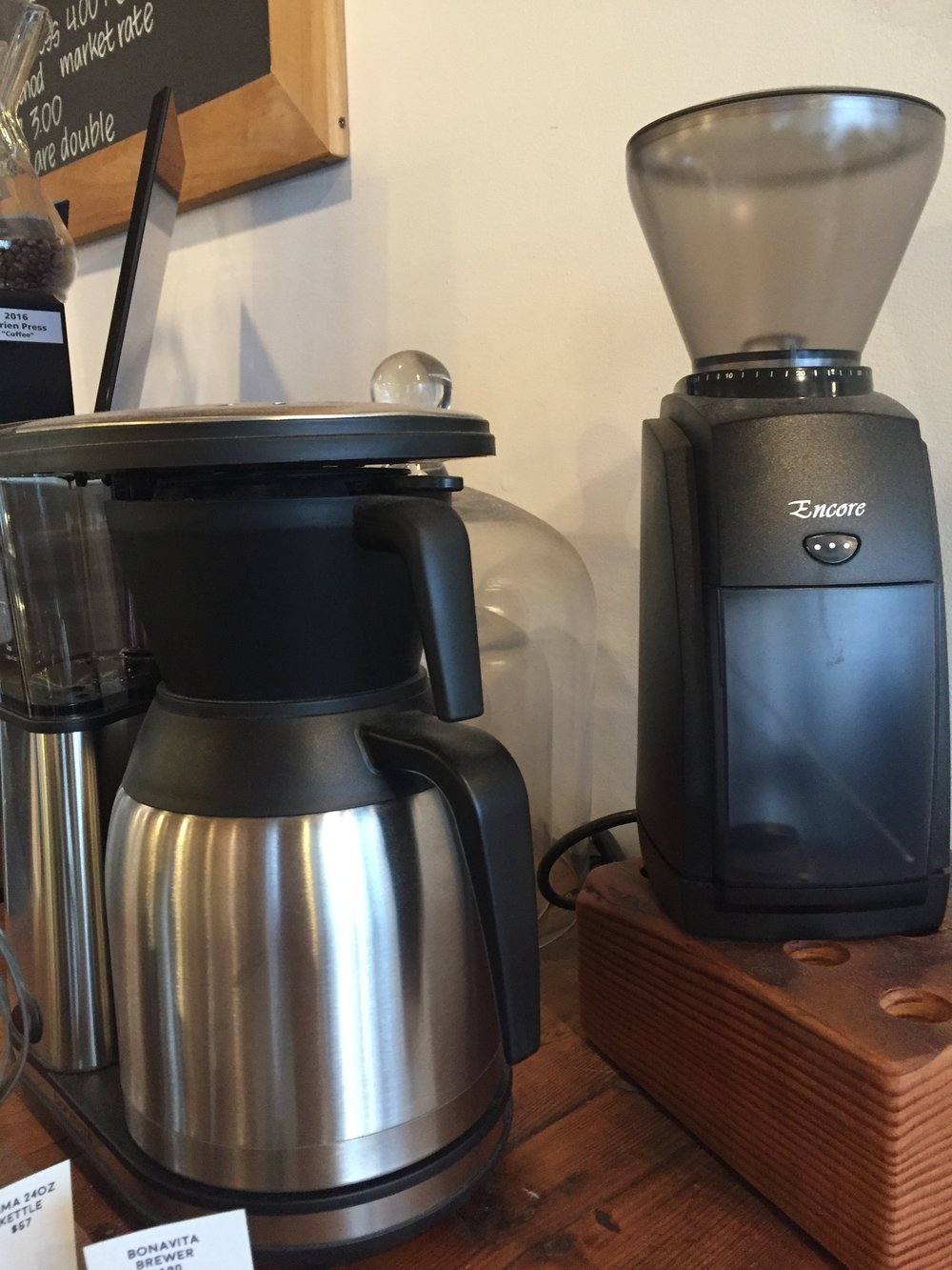 The match made in heaven: Baratza  Encore grinder * and  Bonavita 8-cup Brewer *.
