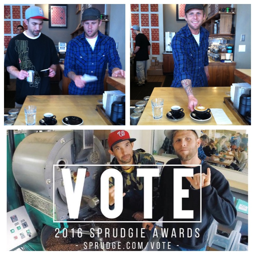 Above: Chris Baca & Jared Truby prepping for Jared's infamous 2011  Introduction to Customer Service  photoshoot. Below: 2016 Chris & Jared open  Cat & Cloud  in Santa Cruz CA and get nominated for a boatload of S prudgie Awards . Am I at all surprised? No.  Vote here !