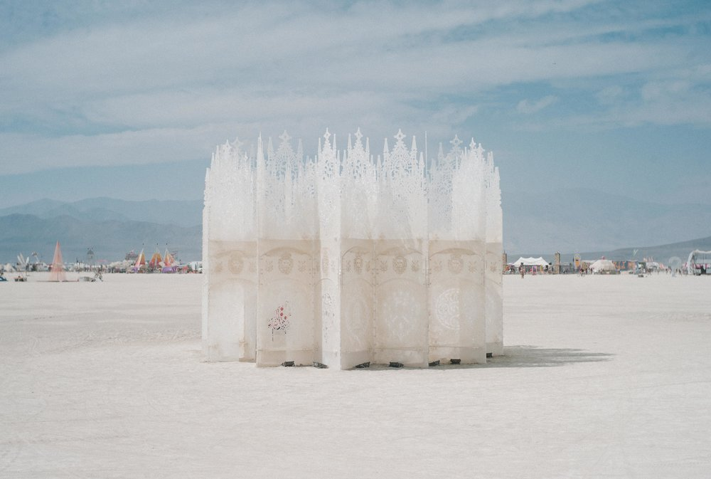 White translucent things in burning man