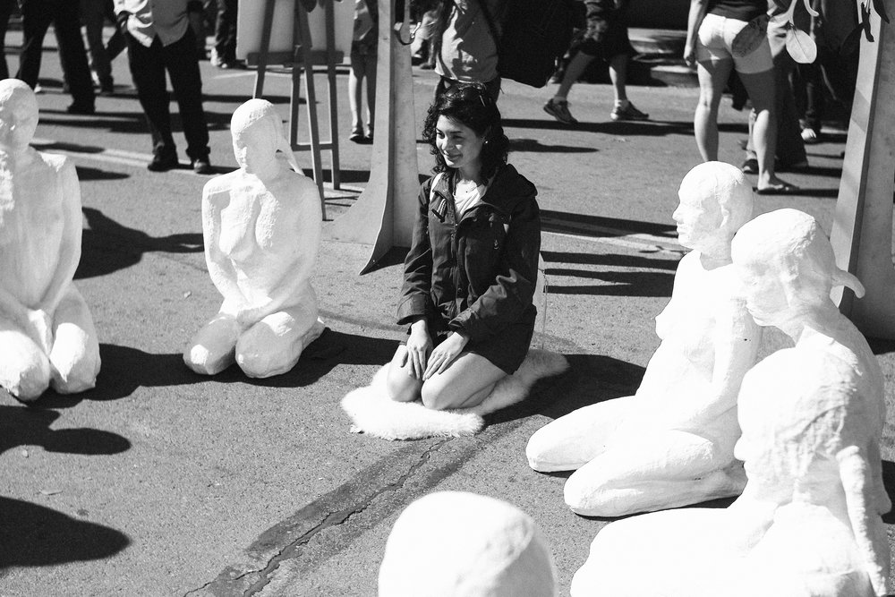 Aida with a group of plaster models