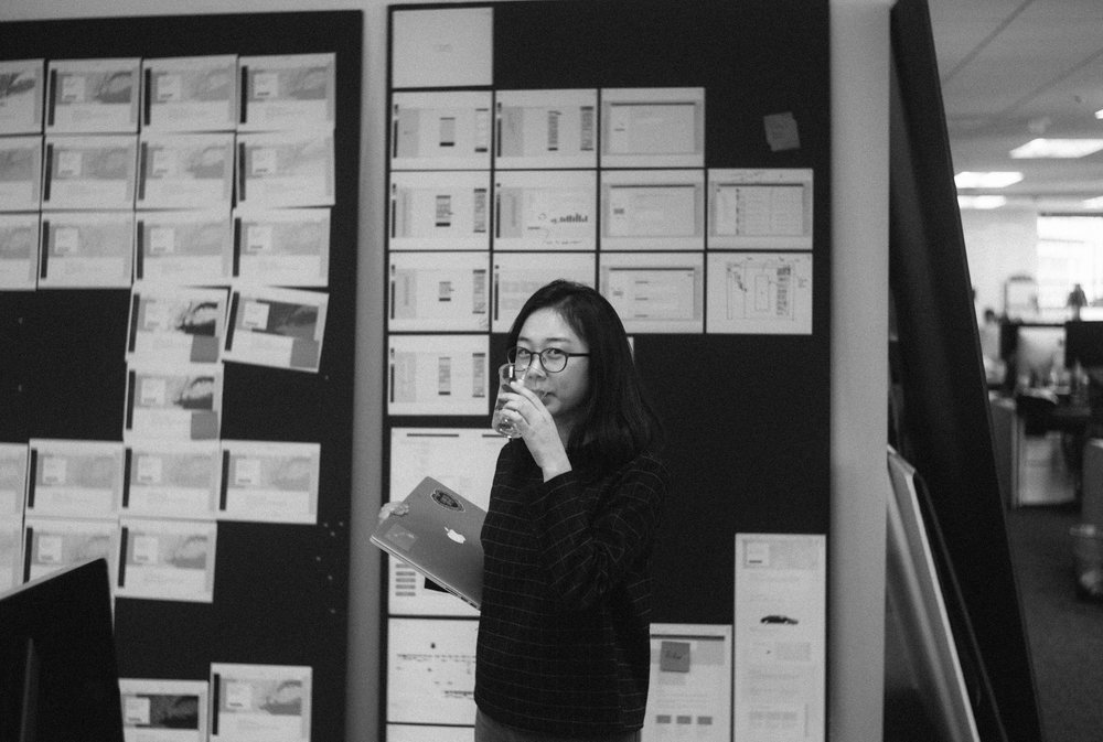 Haylee infront of wireframes