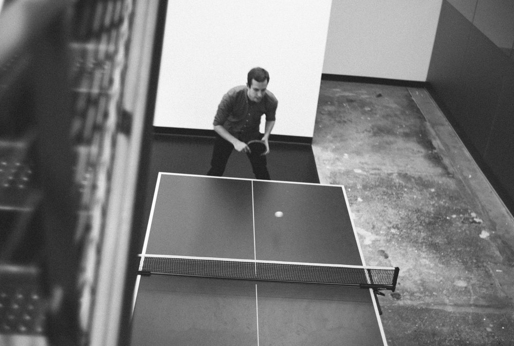 Parker playing pingpong