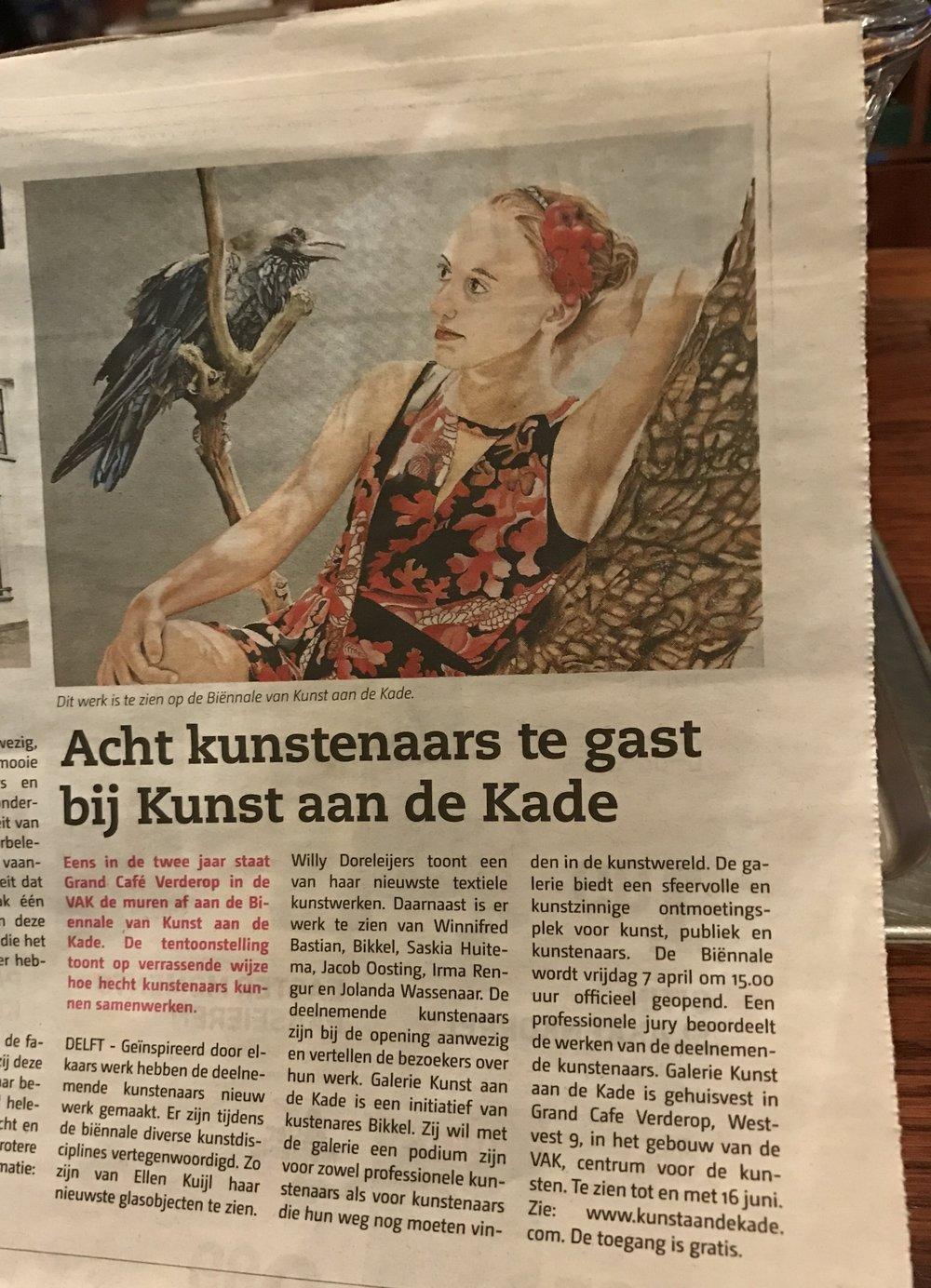"Article about the Biennale Kunst aan de Kade, newspaper ""Delftse Post"""