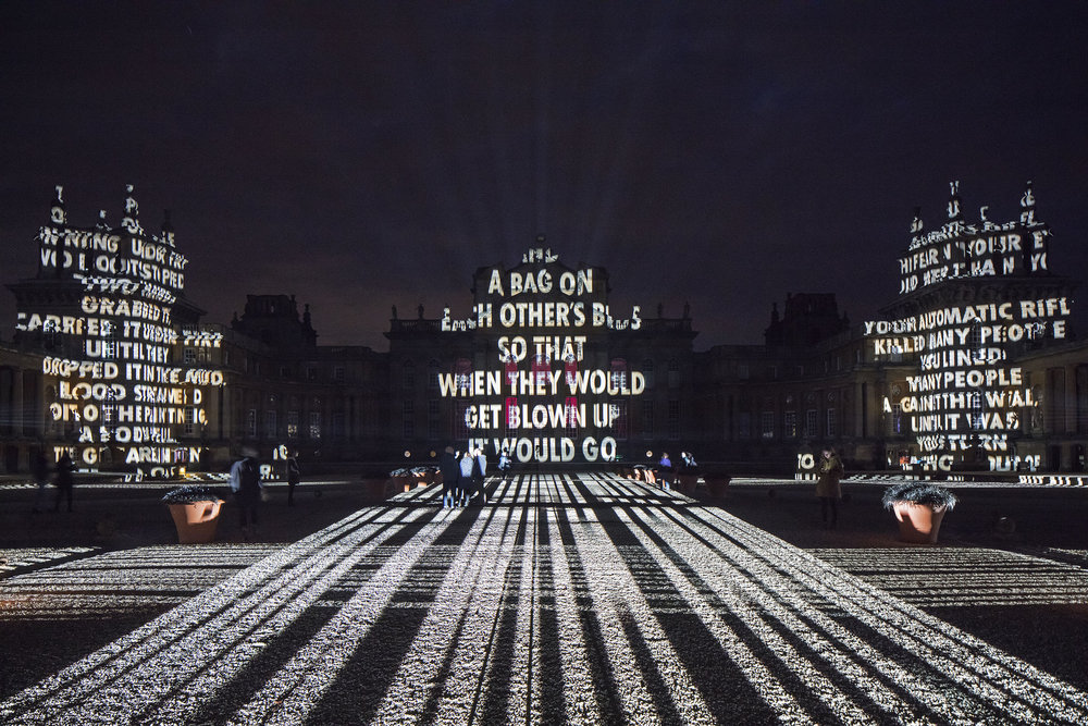 Jenny Holzer. SOFTER, Blenheim Palace, Blenheim Art Foundation, 2017