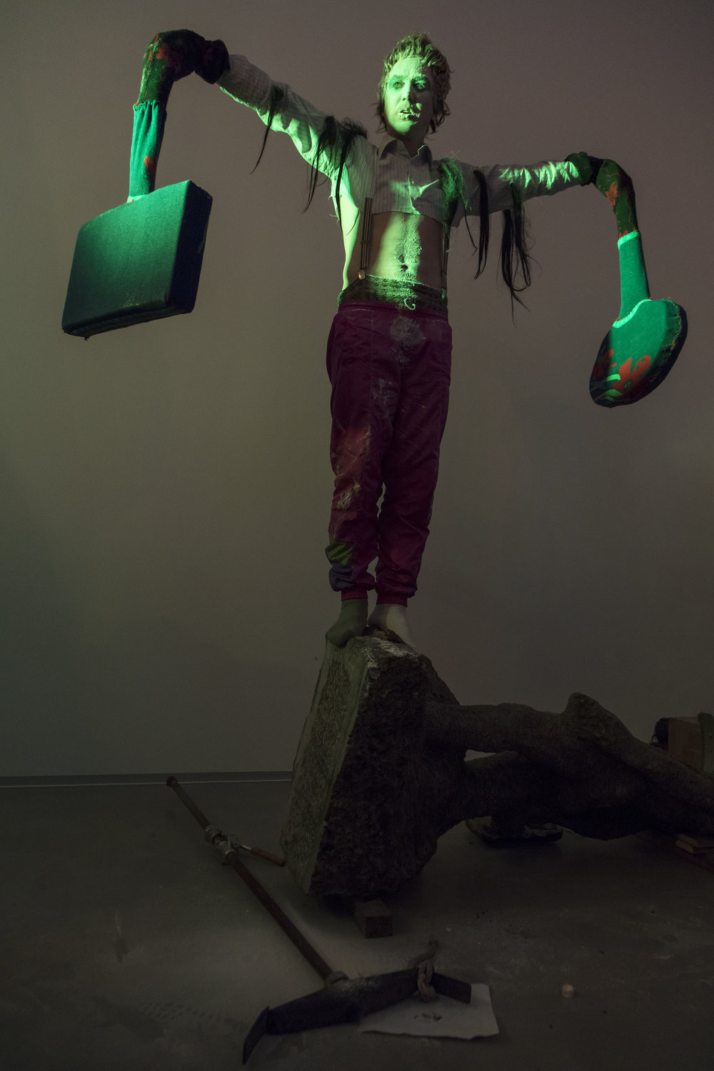 Lars Eidinger performing at the opening of John Bock's exhibition at Berlinische Galerie, Berlin, 2017