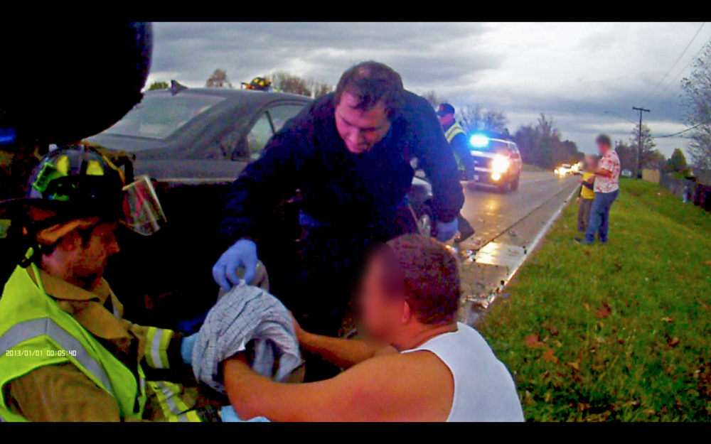 On 10 March 2016, ESFD responded to a two-car motor vehicle accident at Hartman Lane and Richland Prairie. Pictured is Lieutenant / Paramedic Lombardo assisting MedStar with patient care.