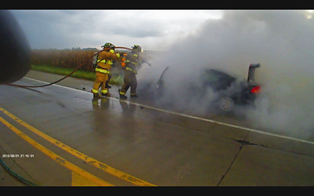 On 9 September 2016, ESFD responded to a vehicle fire on S. Green Mount Rd. Pictured are Firefighters Stock and Chavaree extinguishing the fire.