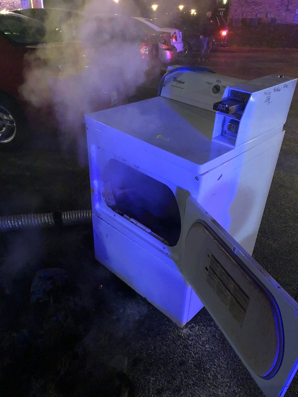On 03/27/19, East Side Firefighters responded for the smell of smoke and detectors sounding in an apartment building. Firefighters located a dryer on fire in the laundry room. The dryer was removed and fire extinguished. The vent pipe for the dryer was completely blocked.