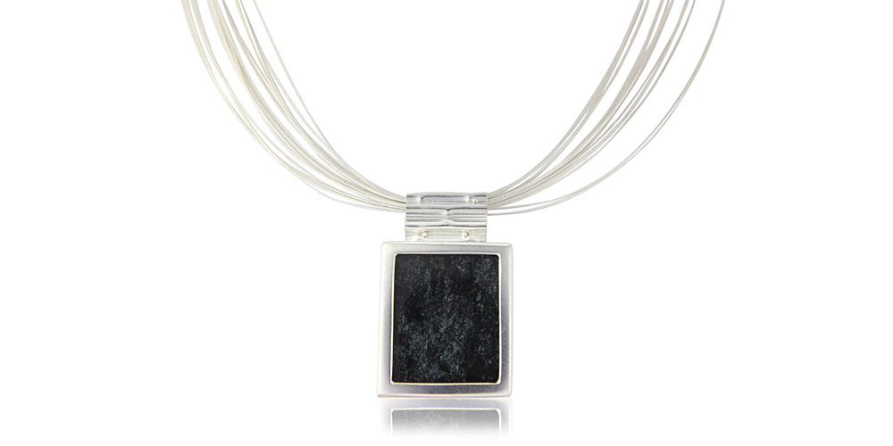 Spectral hematite and silver pendant on silver necklace