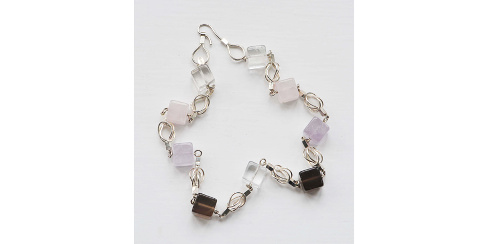 Rose Quartz, Rock Cystal, Amethyst and Smokey Quartz Necklace on Herculean Silver Chain
