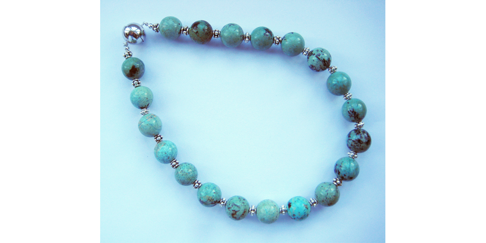 Chrysocolla and Silver Necklace with Magnetic Clasp