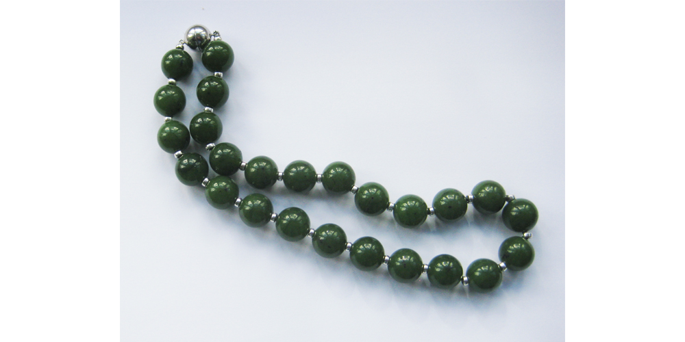 Canadian Jade and Silver Necklace with Magnetic Clasp