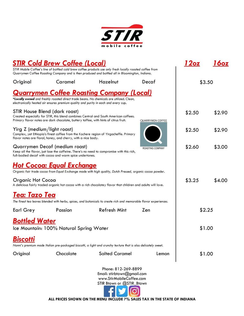 STIR Mobile Coffee - Event Menu - June 2017 Version