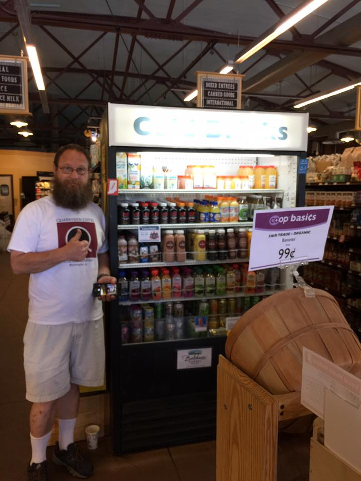 Quarrymen Coffee Roasting Company, Wes Burton, at Bloomingfoods West with STIR products