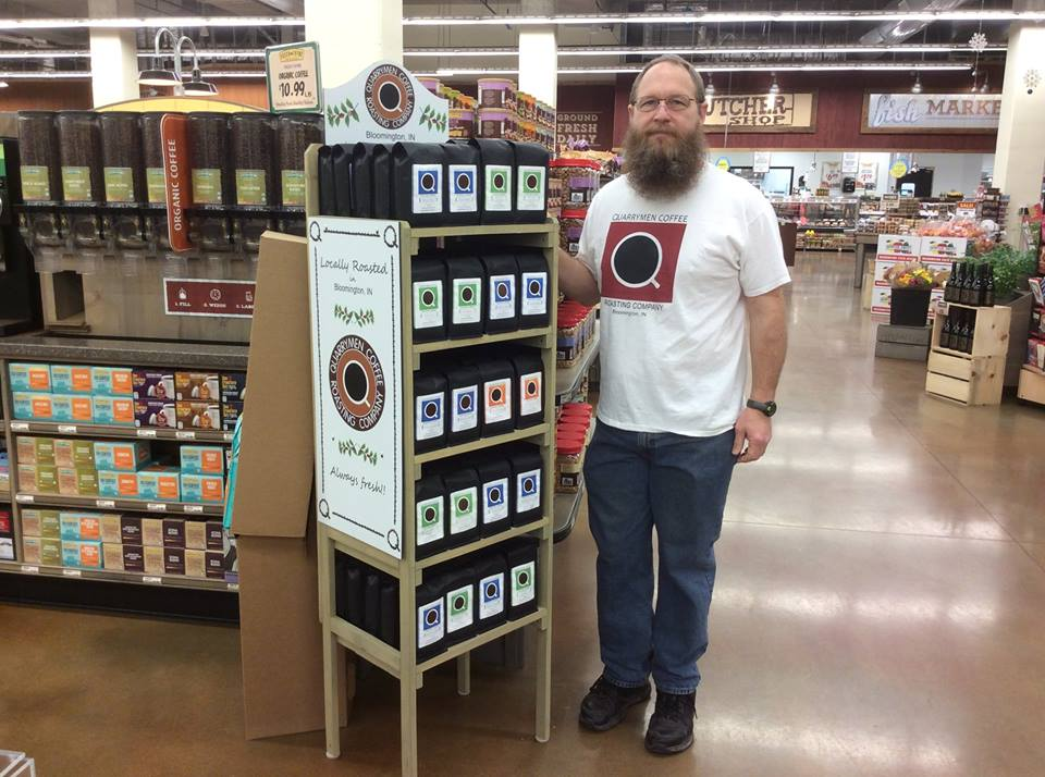 Wes Burton with his new coffee display at Fresh Thyme in Broad Ripple.