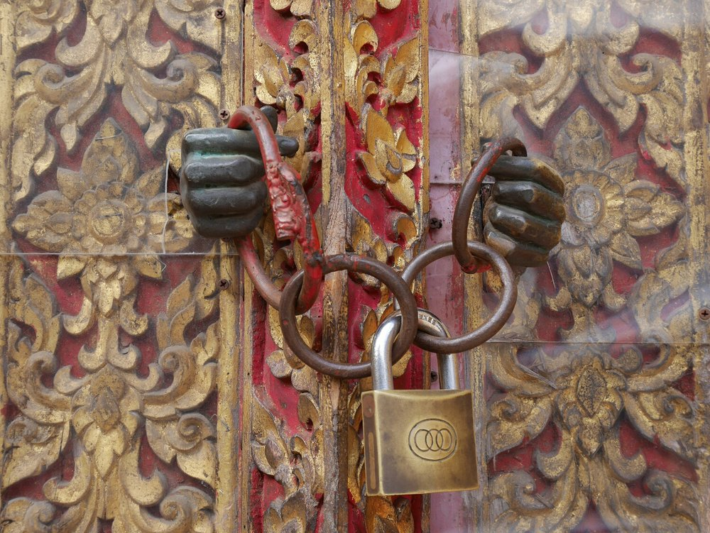 Lock of a temple in Chiang Mai.