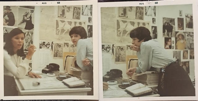 Joan Juliet Buck with Julie Britt, first day at Glamour magazine in New York City, August 1968.