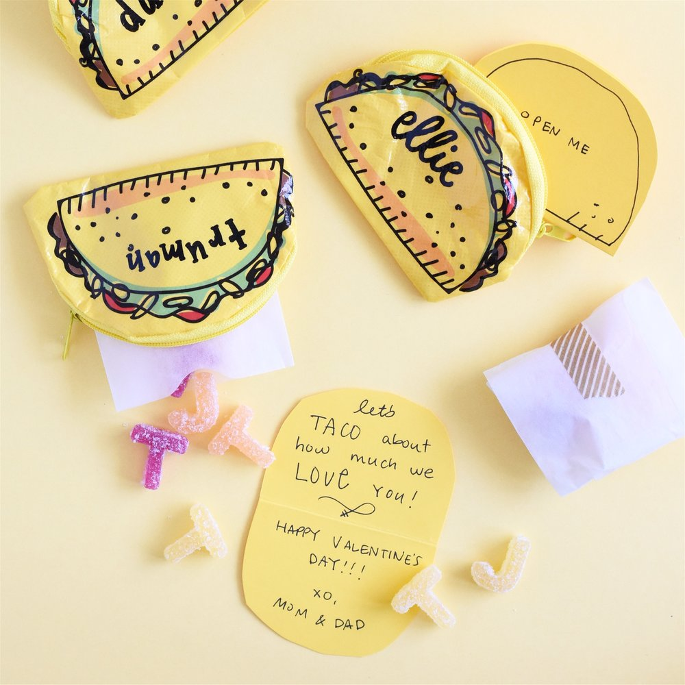 sources:  taco bags ,  glassine sleeves ,  cardstock paper ,  washi tape  . Lettering by  Jina Koh Calligraphy .
