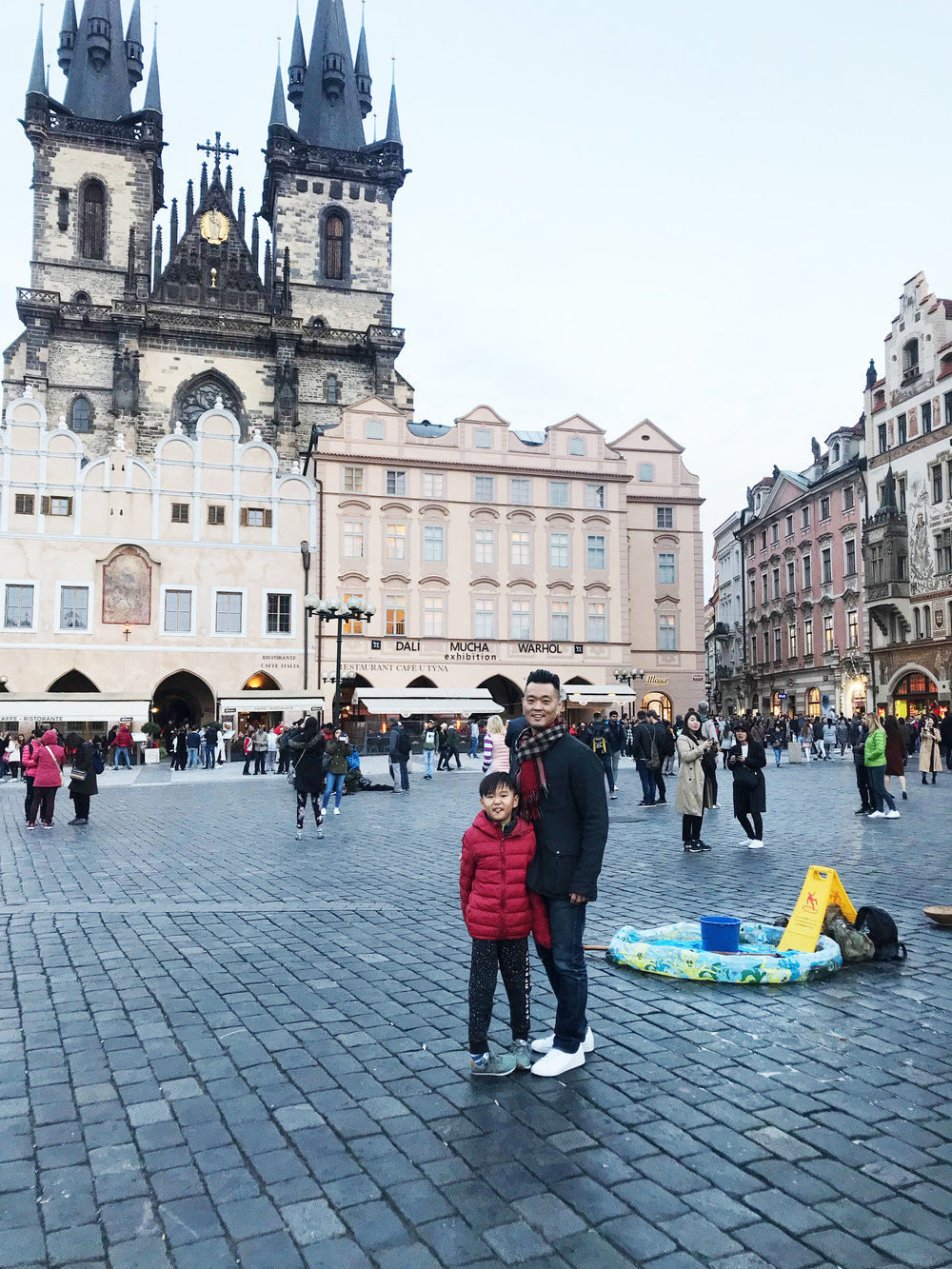 Old Town Square- the ground here used to be at least 10 meters lower long long ago. Praha is known to flooding so they added more dirt/earth to make the ground higher! So most homes and buildings have underground basements / cellars which used to be the first floor.