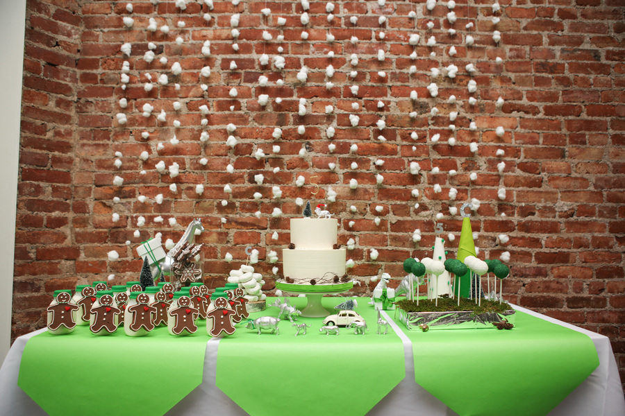 cotton ball backdrops added a nice pop to the red brick wall.