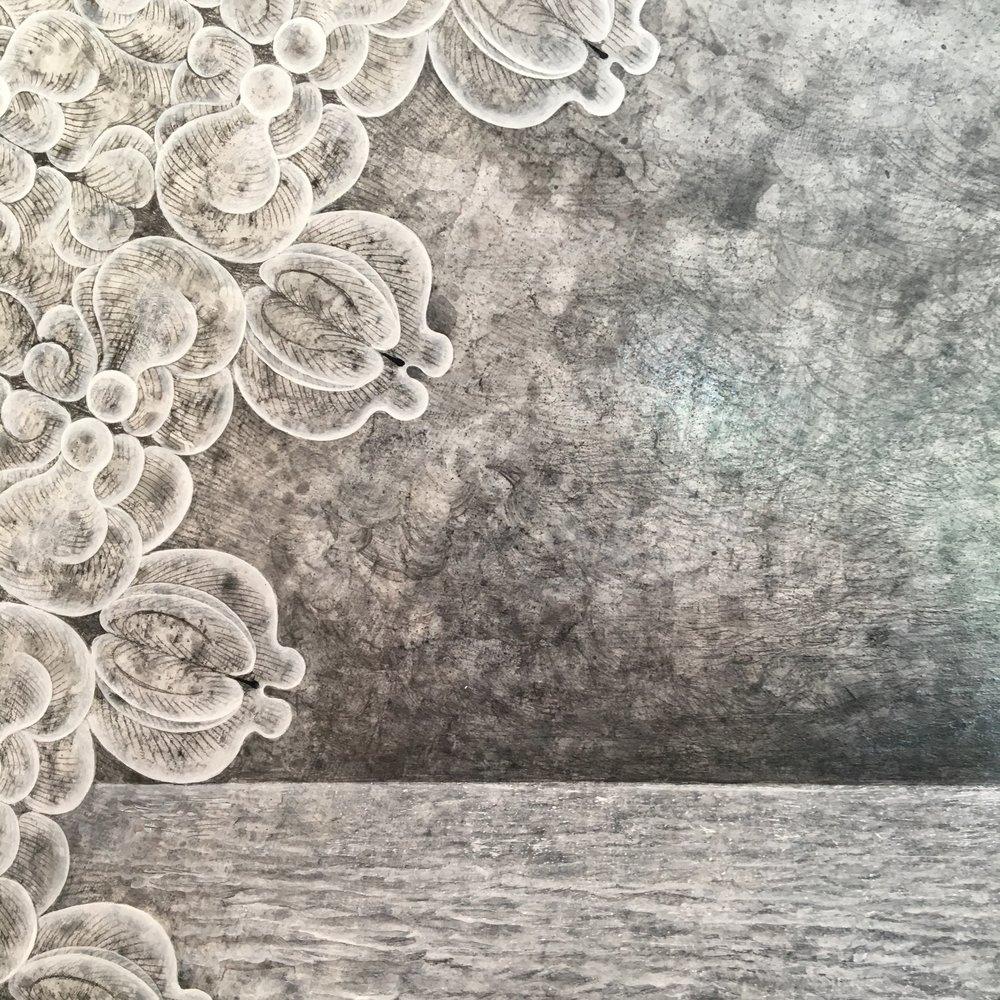 Carol Prusa,  Unknowing  (detail), 2016, silverpoint, graphite, titanium white pigment with acrylic binder on 1/4 inch plexiglas, 60 x 60 x 2 inches.