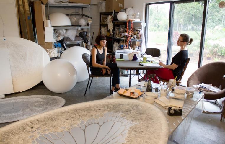 Carol Prusa and Michelle A. M. Miller in Carol Prusa's studio.