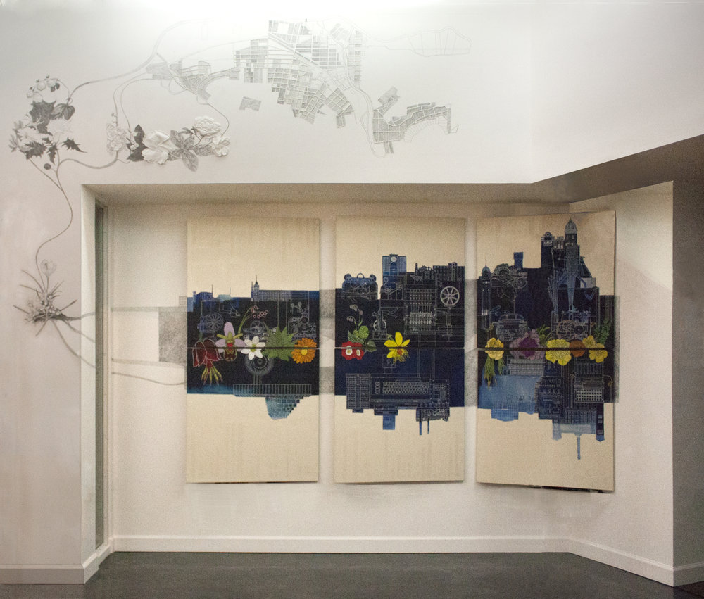Carrie Sieh,   The Great American Romance of Production,   2016, six painted and embroidered canvases, 84 x 36 inch graphite drawing, hand embroidered white yarn in drywall, Image Courtesy of the Artist