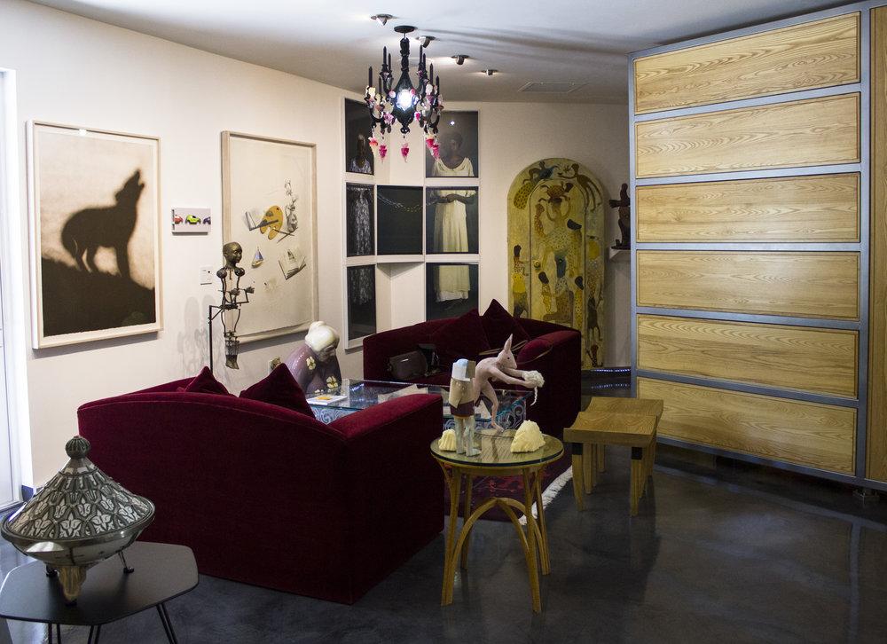 View of Bernice Steinbaum's living room, artists pictured: Ed Ruscha, Peter Sarkisian, Kate Moran, Luis Jiménez, Liliana Porter, María Magdalena Campos-Pons, Manuel Mendive, Janet Mullarney, Edouard Duval-Carrié.