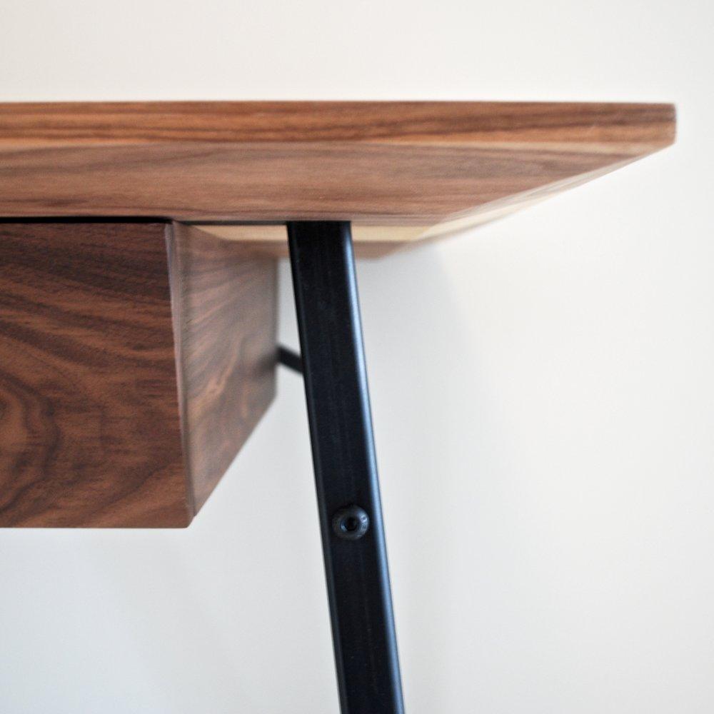 Bespoke walnut and steel desk