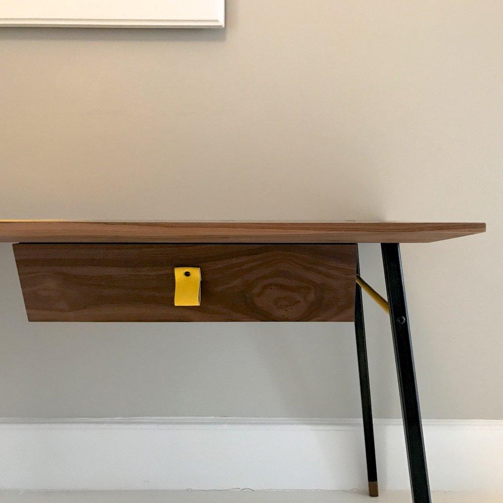 bespoke walnut, steel and leather desk