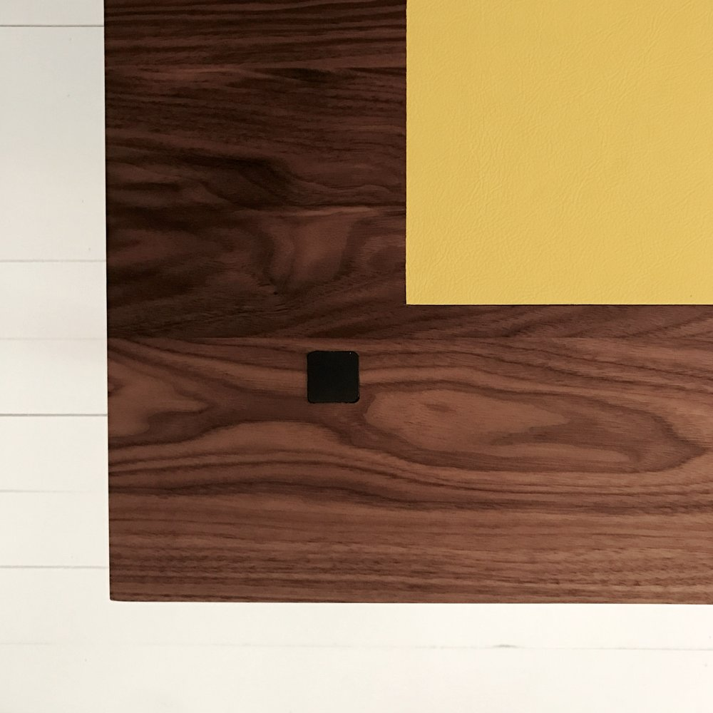 Copy of bespoke walnut desk leather inlay detail