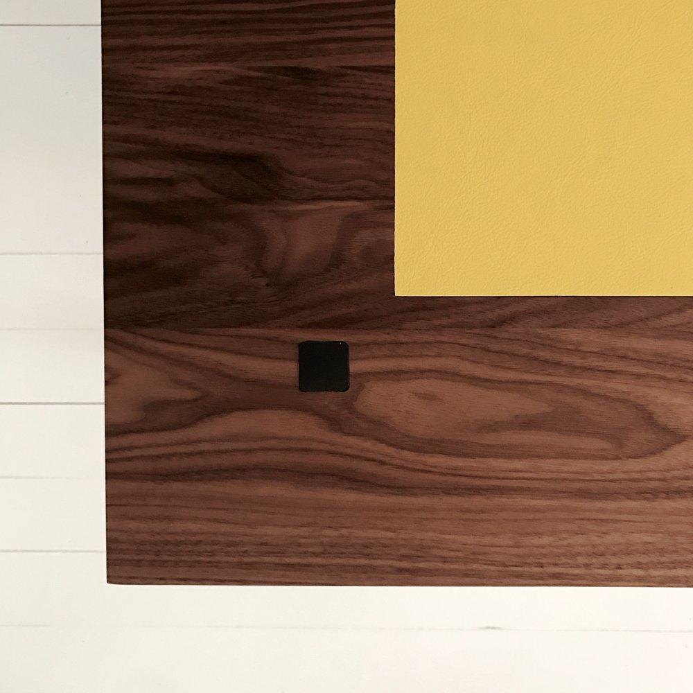 bespoke walnut desk leather inlay detail