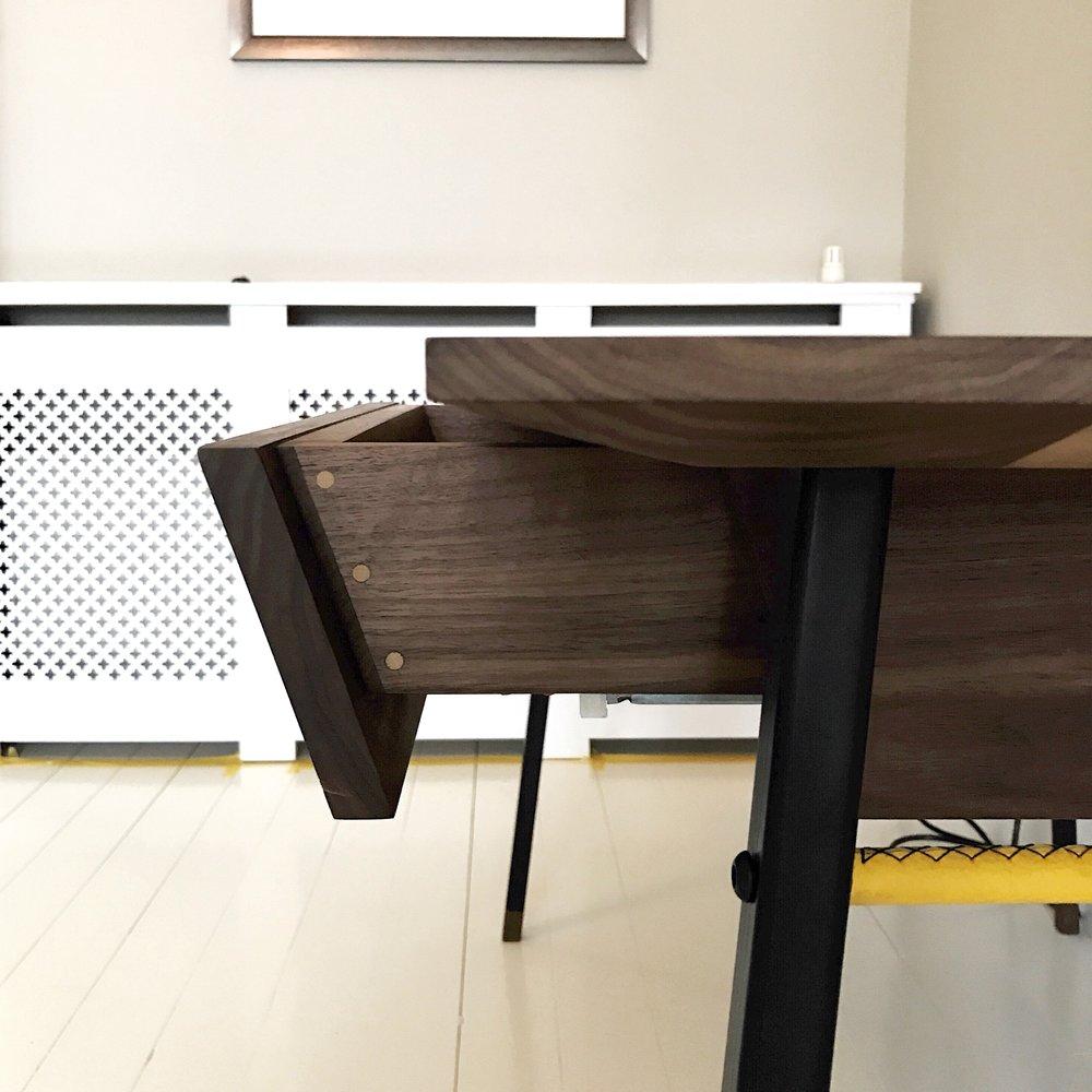bespoke walnut desk drawer detail