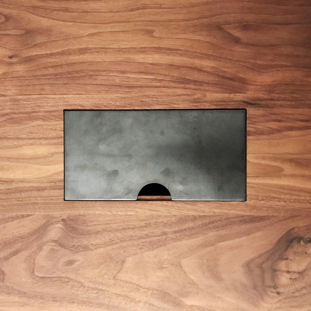 bespoke walnut desk cable tidy detail