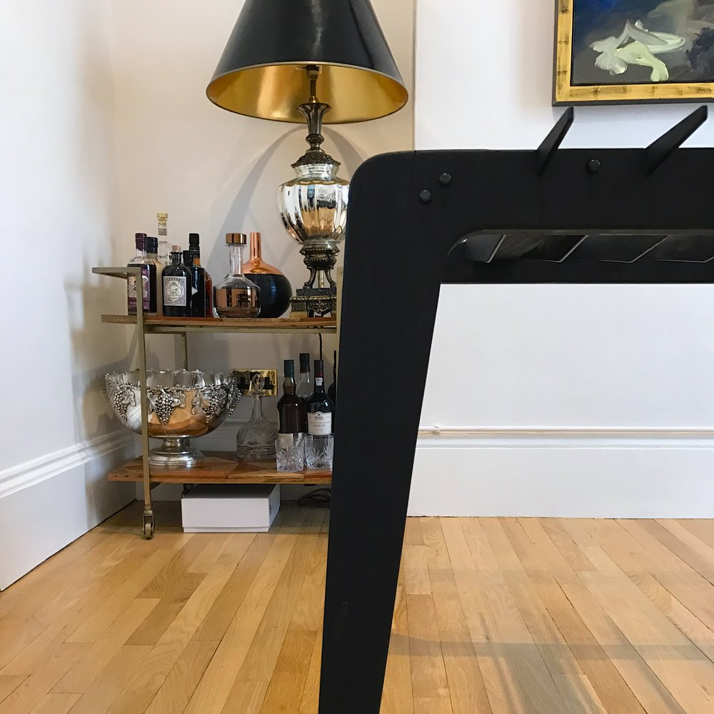 Copy of bespoke charred ash and blackened steel dining table detail