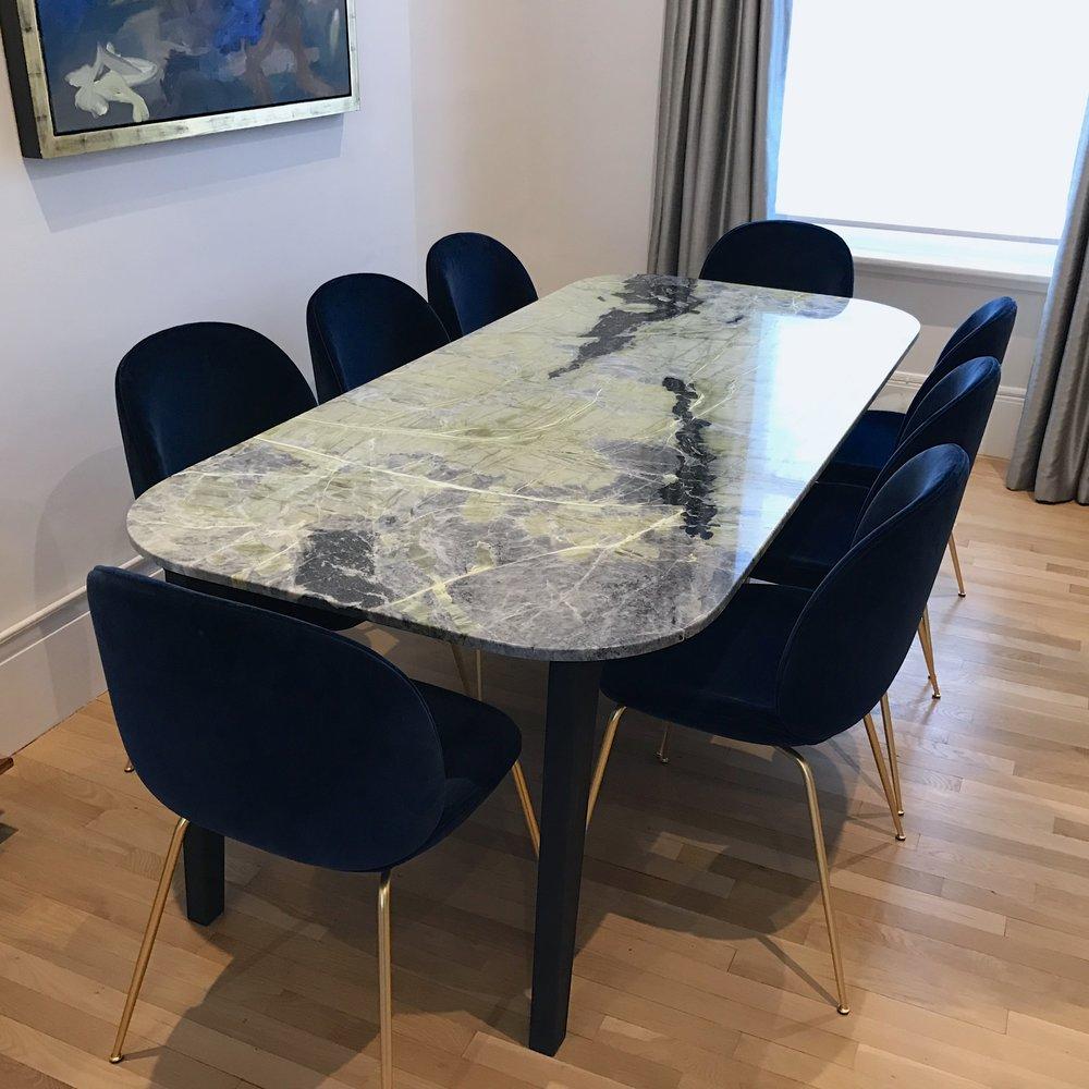 bespoke ledmore marble dining table