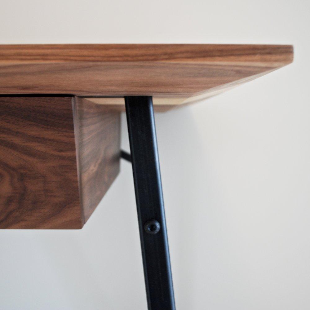 Handmade bespoke Walnut, steel and leather desk