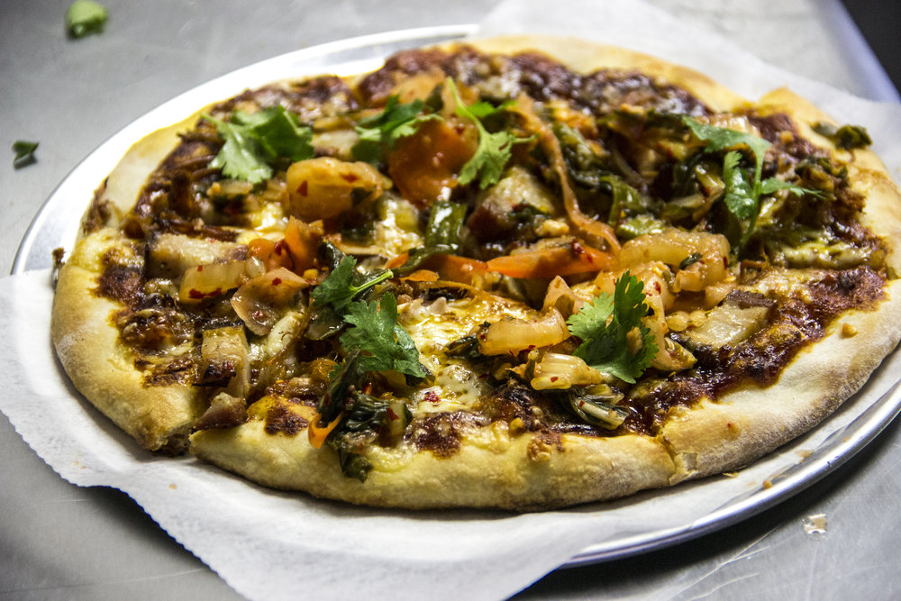 Hired Hand Brewing's famous Korean BBQ pizza