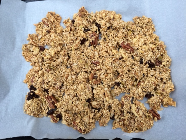 I love making this granola recipe because it's soooo easy and delicious!  You can use any nut you like and add a variety of dried fruits such as cranberries, raisins, blueberries and chopped dates.  The sky's the limit! It keeps for at least a week in tupperware.  What a tasty, guilt-free snack!! Yum!