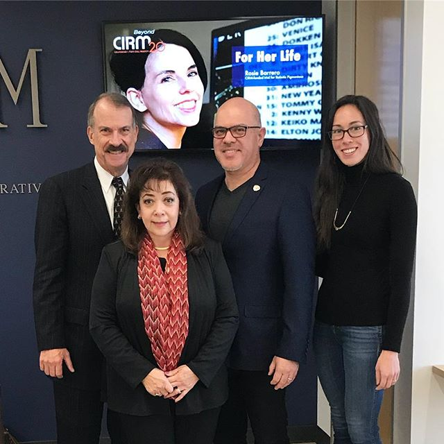 "Part of my job as a #scicomm manager at @cirm_stemcells is to help patients and patient advocates tell their stories. It's extremely motivating to work with these passionate people to raise awareness for diseases like #huntingtonsdisease. . This is a #TBT photo of patient advocates Frances and David Saldaña with CIRM Board Chairman Jonathan Thomas and myself at a recent Board meeting. We invited Frances to talk about her tragic story of her families fight with HD. . Frances was married previously to man that she had three beautiful children with. He didn't tell her that he had a genetic mutation that causes HD (a rapidly progressing neurodegenerative disease that impairs movement and emotion). Frances' three kids all would inherit this mutation and eventually were diagnosed with HD. . Tragically (my heart is breaking writing this), all three of her children lost their battle against HD. Frances lost her remaining son Michael just this past fall and when I spoke to her she told me, ""My son must not be forgotten and we must end HD so my children will not have died in vain."" . Frances is determined to help find a cure for HD by raising awareness and supporting the funding of research (including stem cell research) focused on developing treatments for HD. You can learn more about her cause by checking out her nonprofit organization HD-CARE based at UC Irvine. Check out my bio link for a blog about Frances and her organization."