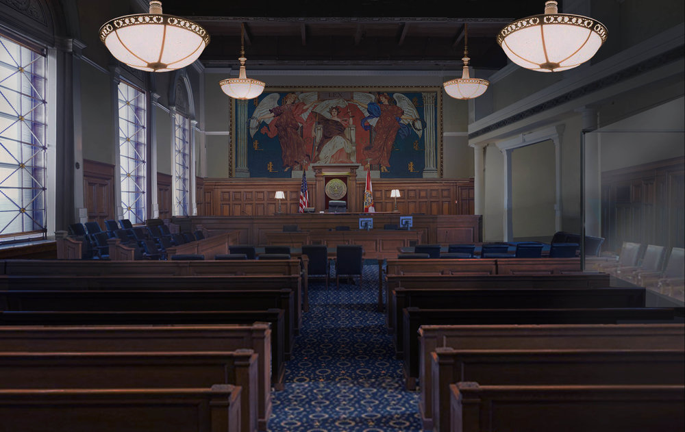 Production Design: David Wasco, Molly's Game Courtroom Illustration
