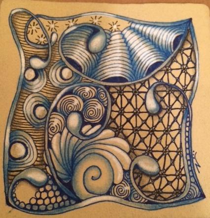 Zentangle, Doodling, Mooka, Crescent Moon, Nzepple, Printempts