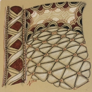 Tan Tile, Renaissance, Zentangle, Doodle, Drawing