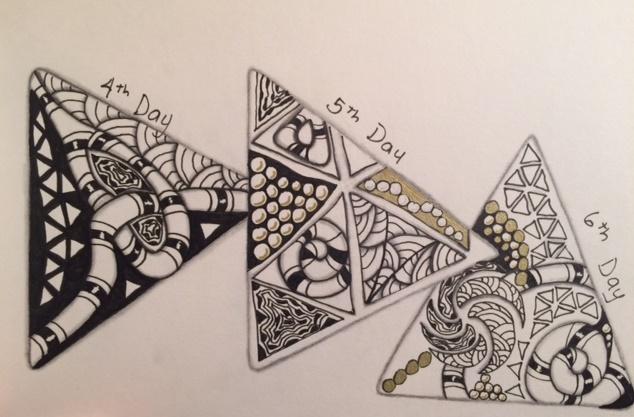 Zentangle, Doodle, 12 Days of Christmas, 3Z Tiles, Holiday, Christmas