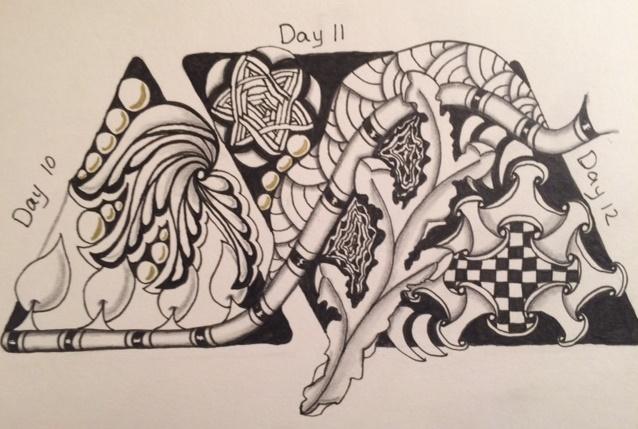 Zentangle, Doodle, 12 Days of Christmas, Holiday, Christmas, 3z tiles