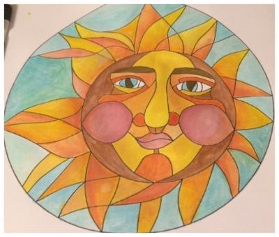 Zentangle, Zendoodle, Doodling, Tangling, Sun, Template