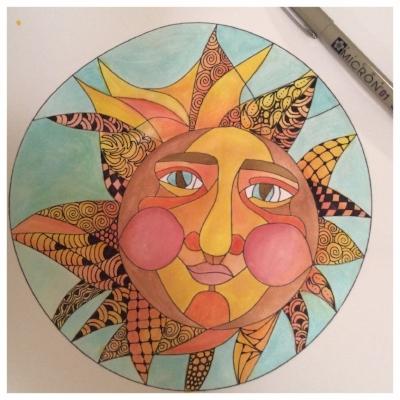 Zentangle, Zendoodle, Doodling, Tangling, Template, Sun, Twinks